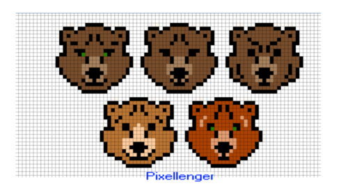 Медведь 5 вариантов по клеточкам
